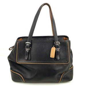 Coach Black Leather Hamptons Tote E040-9605
